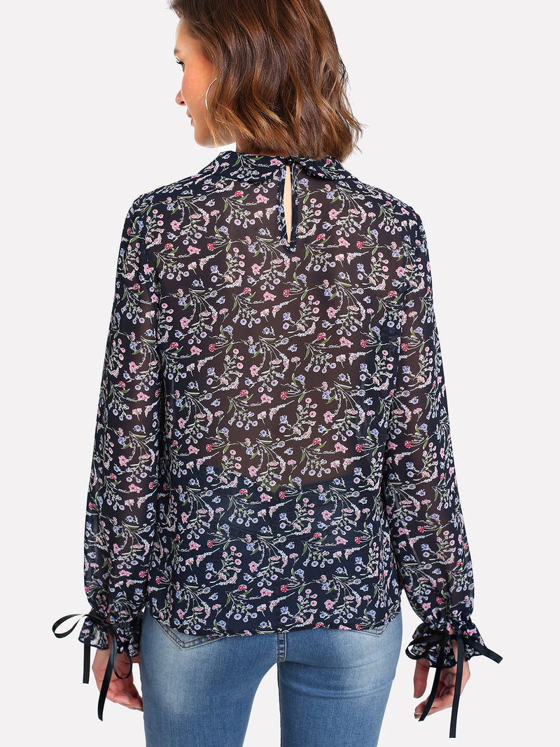Tie Neck And Cuff Flower Print Semi Sheer Blouse