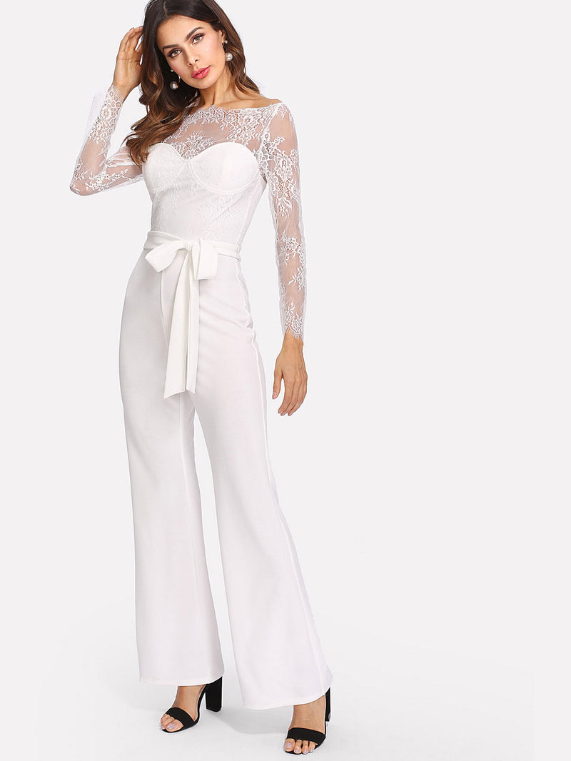 Self Belt Lace Overlay Bustier Jumpsuit