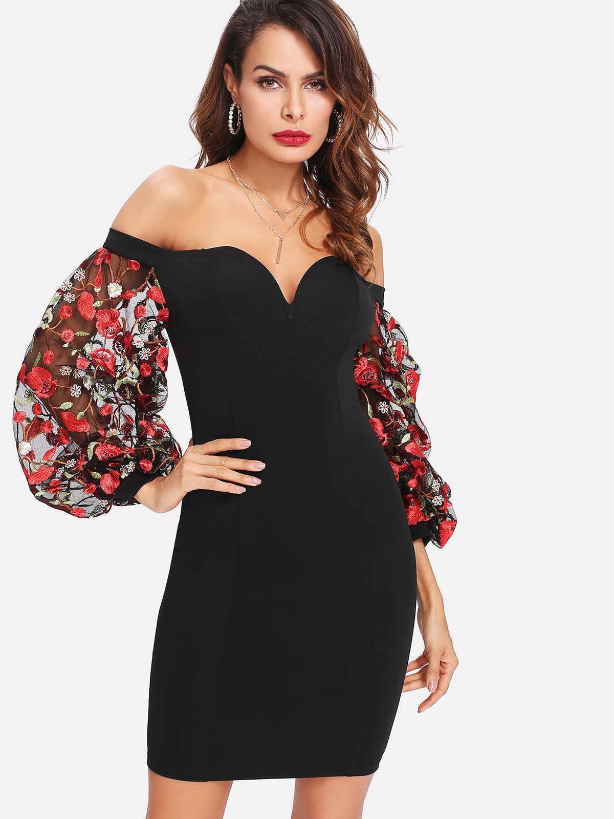 Embroidered Mesh Sleeve Sweetheart Bardot Dress