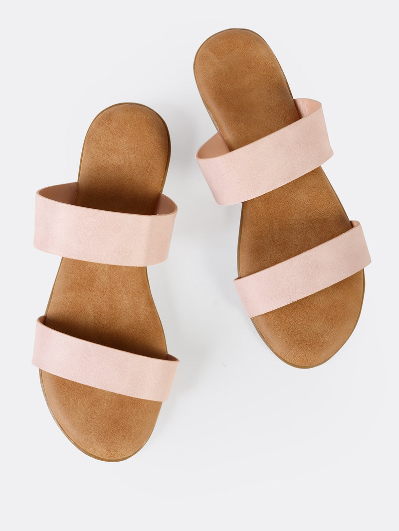 Double Strap Slip On Sandals BLUSH