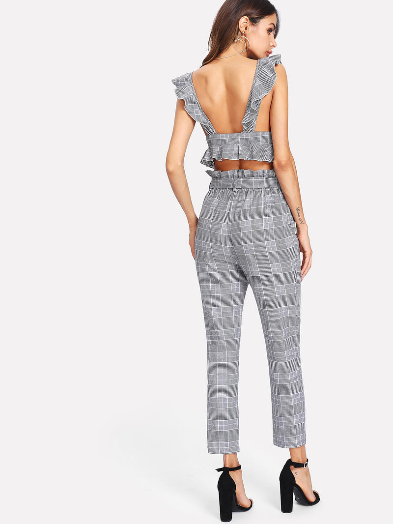 Ruffle Deep V Neck Top & Self Belt Pants Set