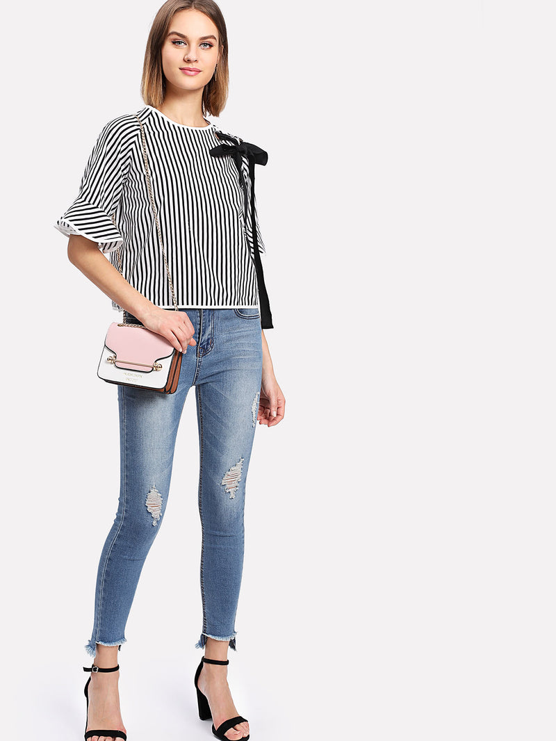 Tape Tie Grommet Detail Striped Blouse