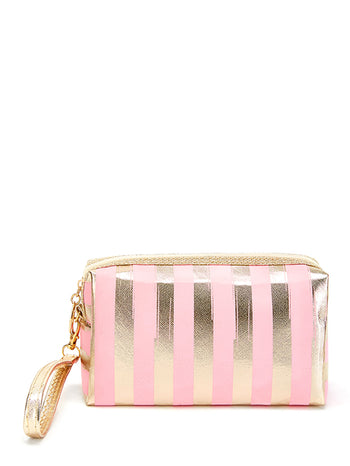 Metallic Striped Pouch With Wristlet