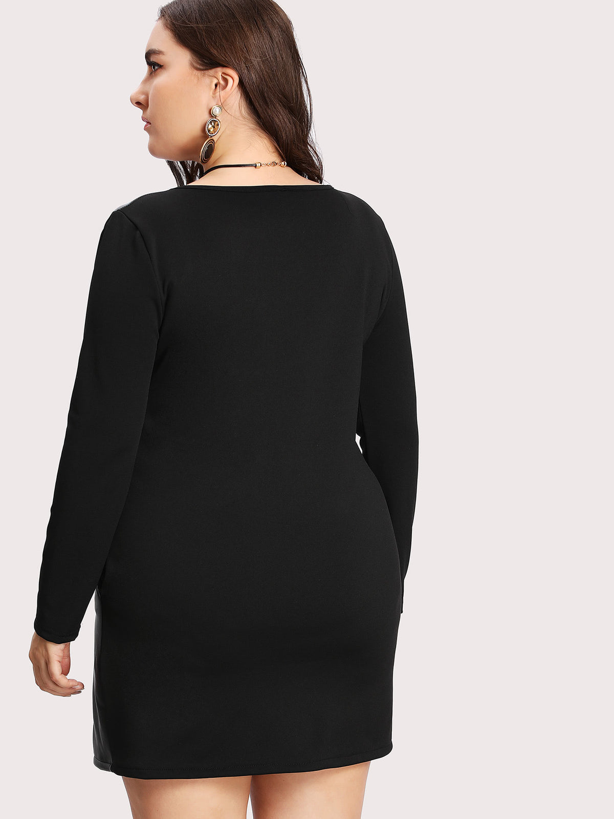 Contrast PU Grommet Detail Dress With Necklace