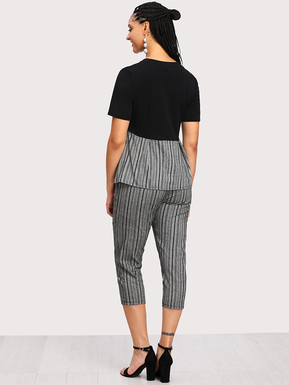 Contrast Striped Hem Top With Cuffed Pants