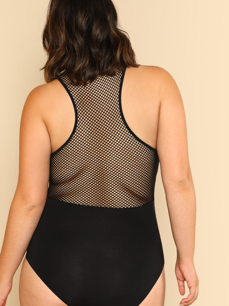 Mesh Panel Zip Front Bodysuit