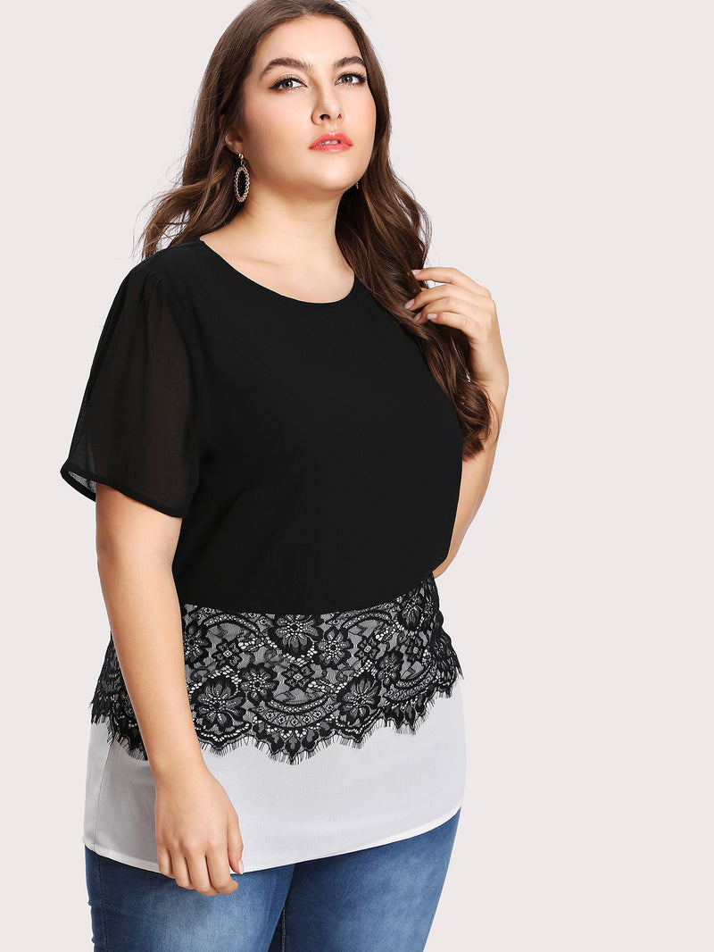 Two Tone Eyelash Lace Detail Blouse