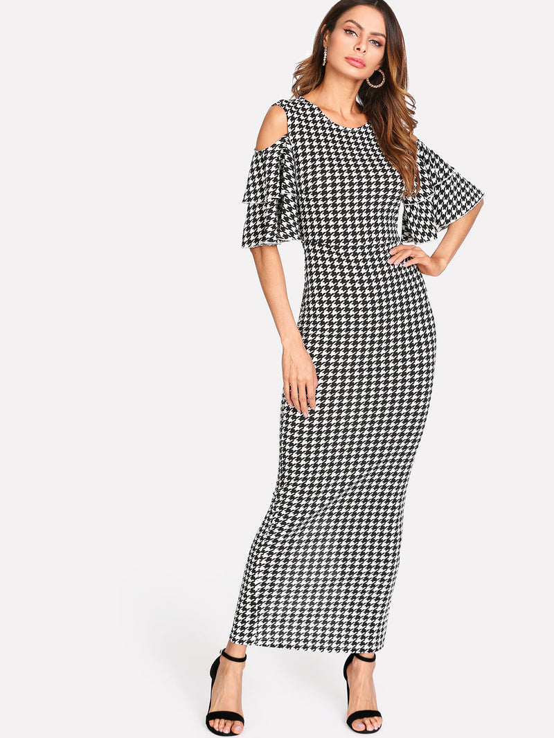 Split Back Cold Shoulder Houndstooth Dress