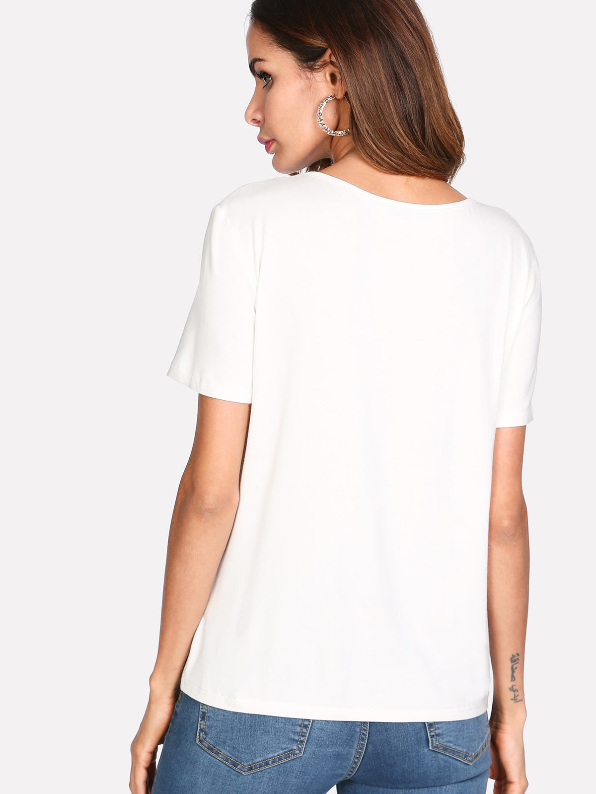 Caged Neck Solid Tee