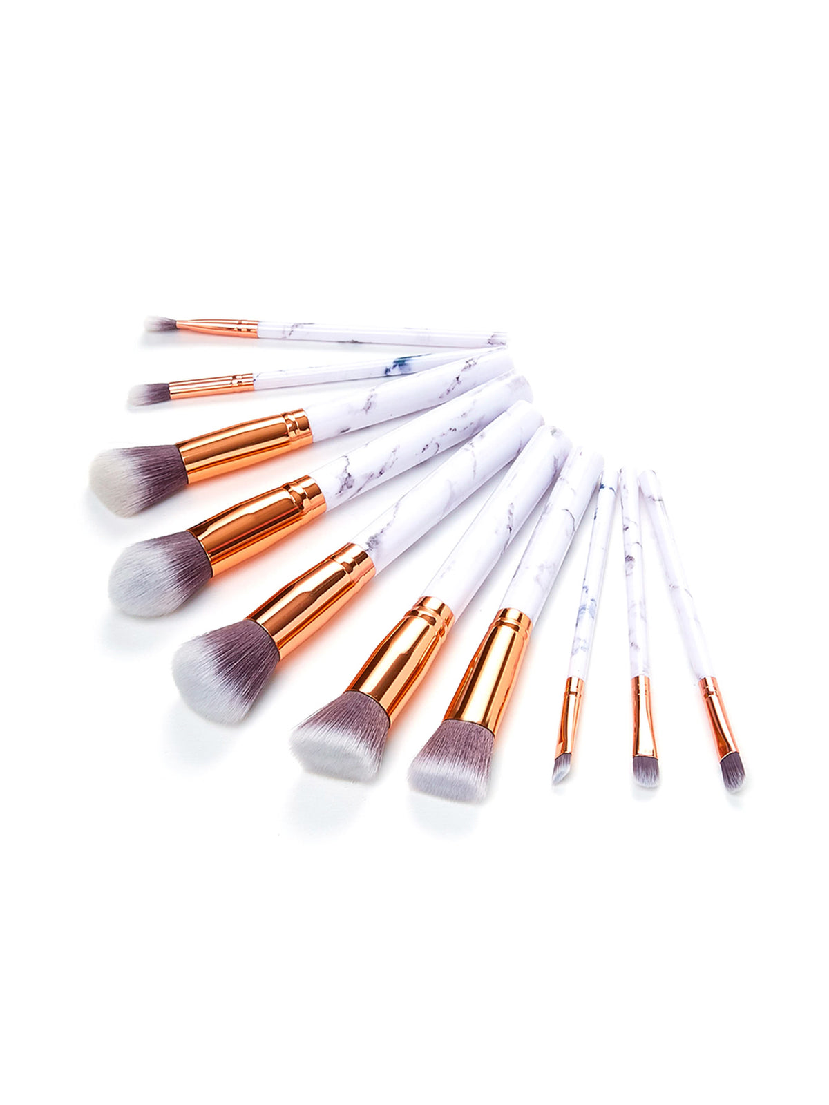 Marble Pattern Handle Brush Set 10pcs