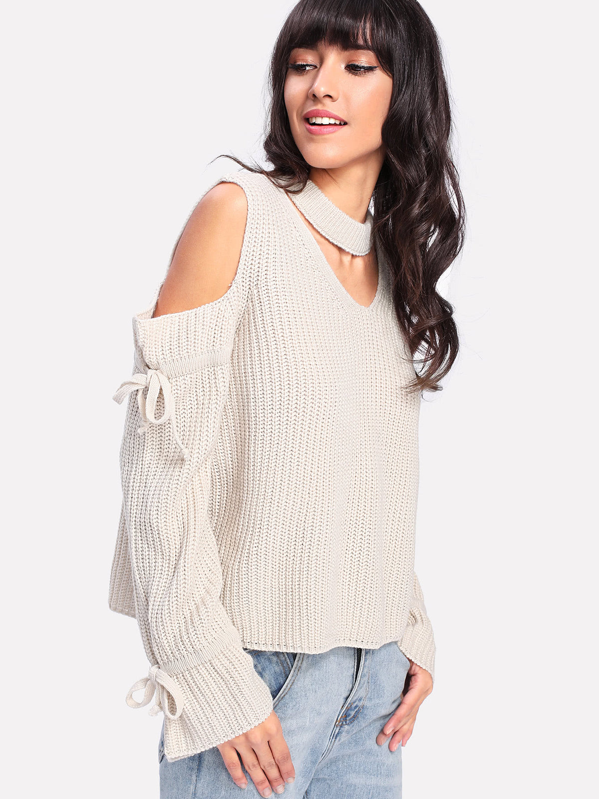 Choker Neck Open Sleeve Sweater