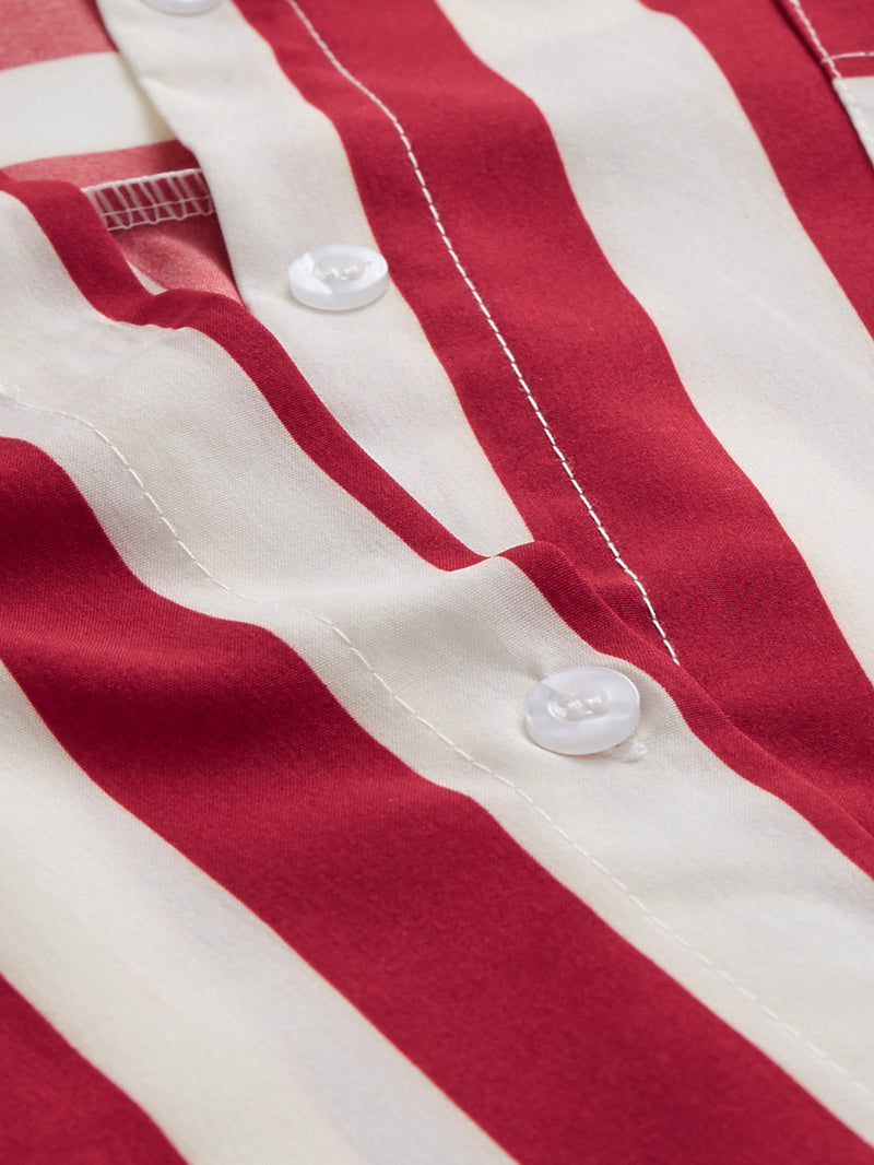 O-Ring Belted Striped Shirt