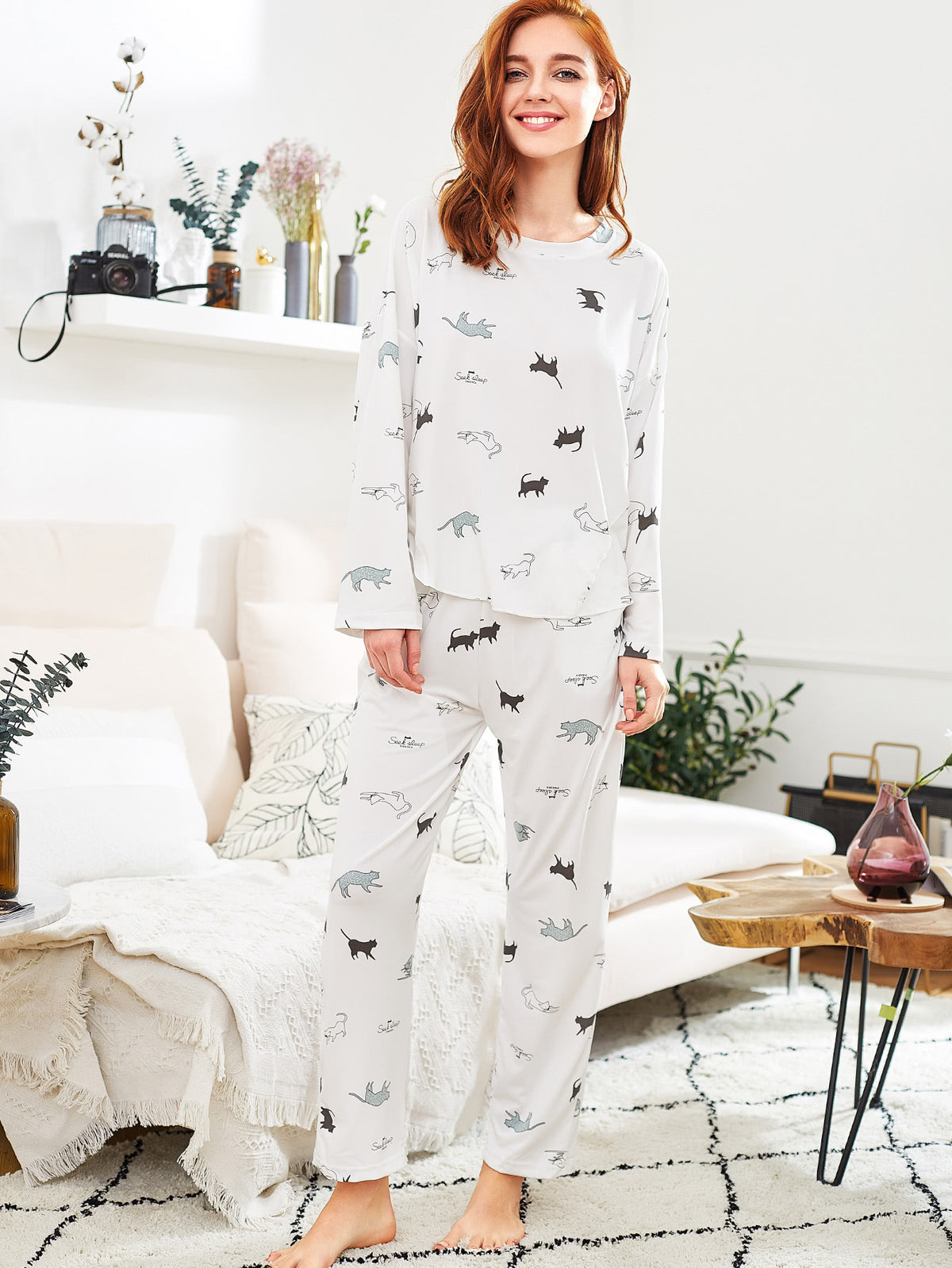 Cat Print Long Pajama Set