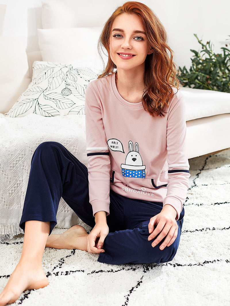 Cartoon Print Tape Detail Pullover & Pants Pj Set