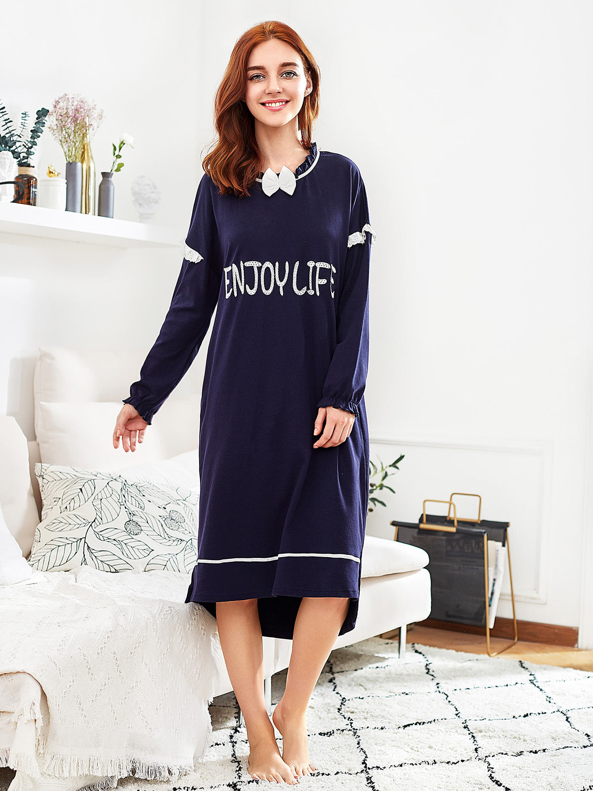 Contrast Lace Frill Trim Letter Embroidered Nightdress