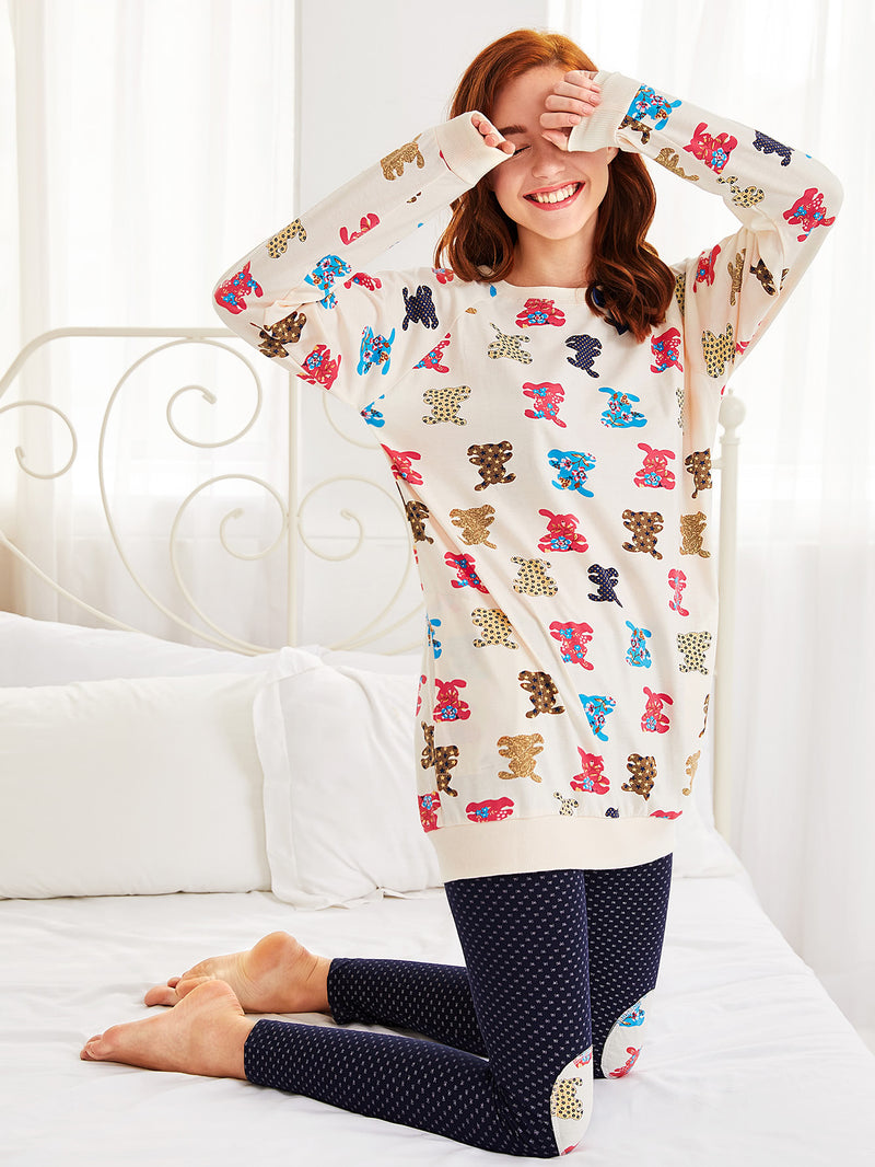 Cartoon Print Longline Pullover & Leggings Pj Set