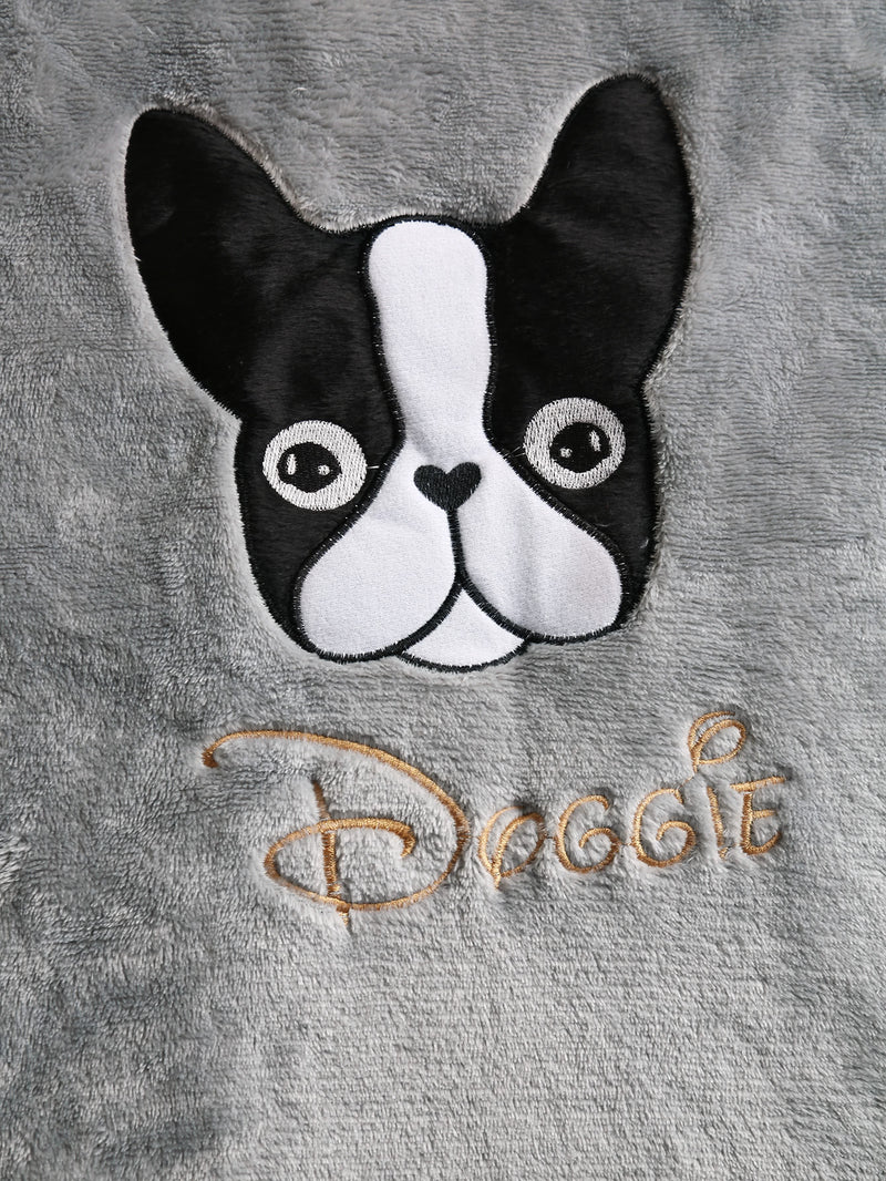 Boston Terrier Embroidered Plush Pajama Set