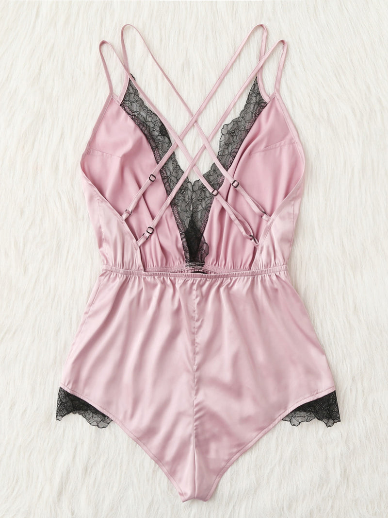 Lace Trim Crisscross Back Satin Sleep Romper