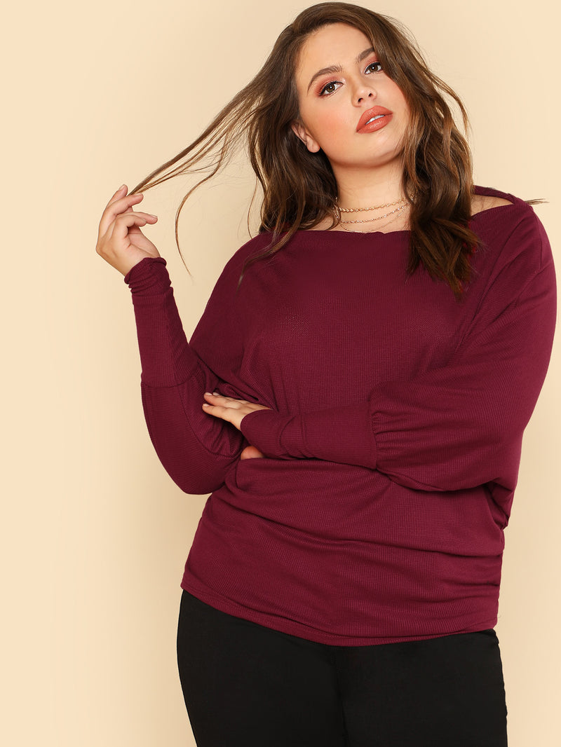 Thermal Knit Dolman Sleeve Top