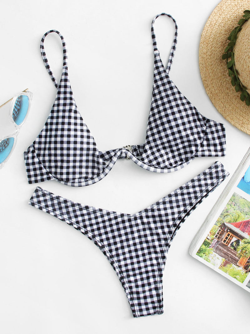 Gingham High Leg Bikini Set