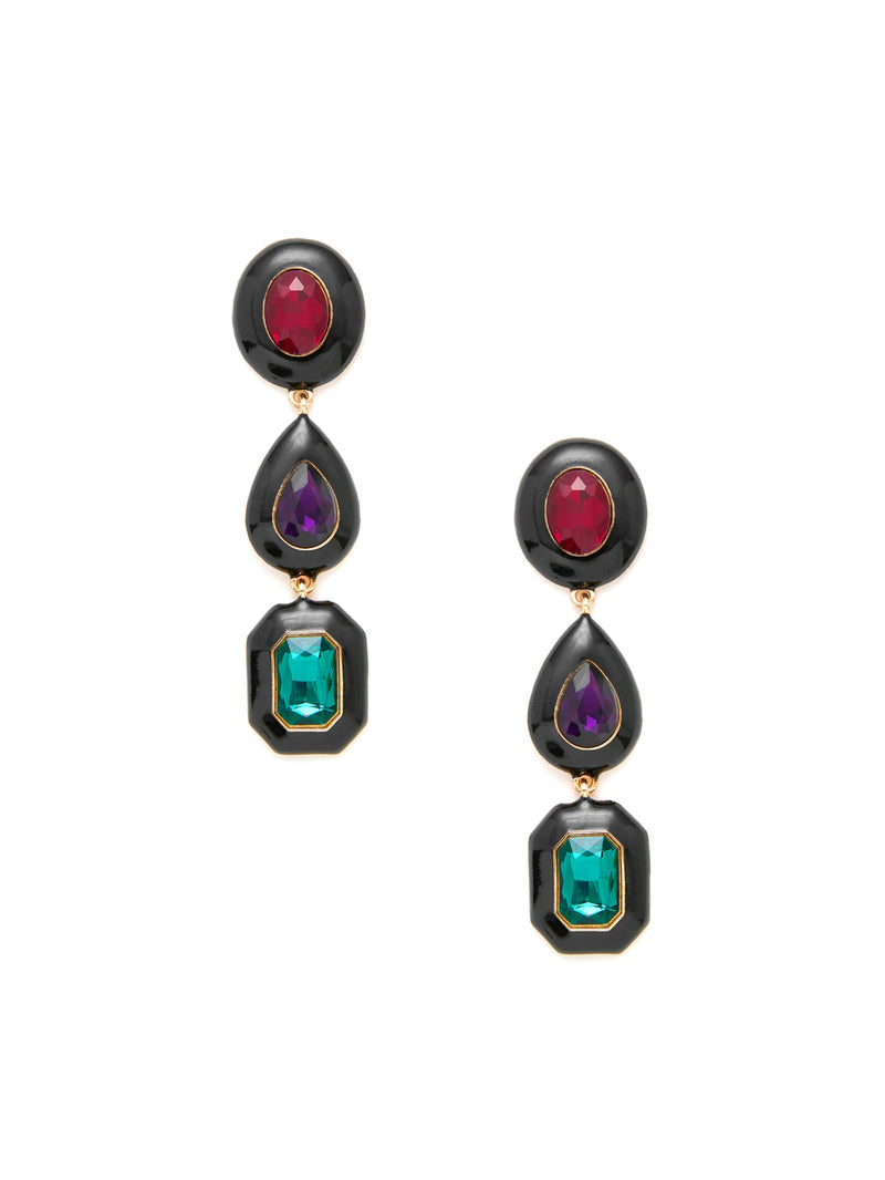 Contrast Rhinestone Design Drop Earrings