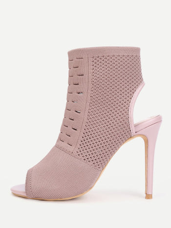Peep Toe Stiletto Ankle Boots