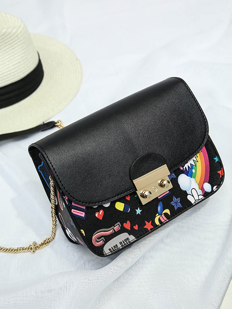 Cartoon Print Push Lock Chain Bag