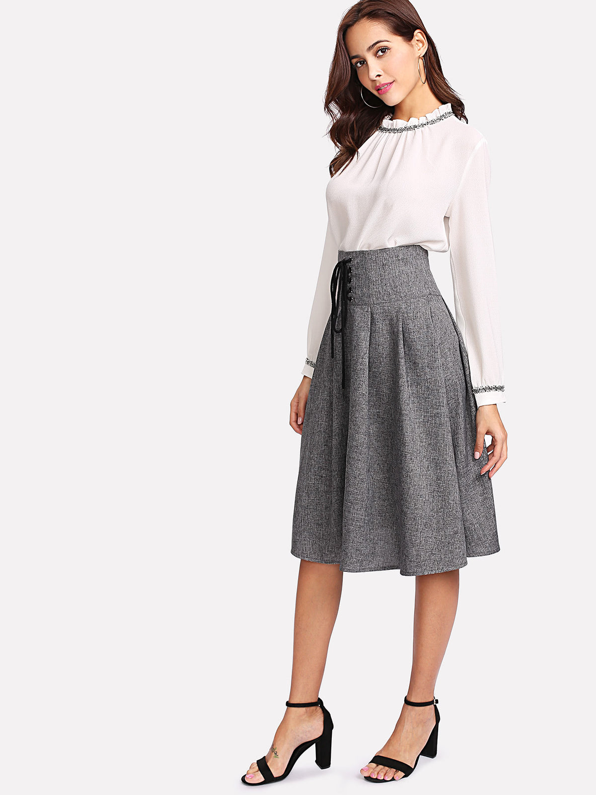 Grommet Lace Up Waist Boxed Pleated Skirt