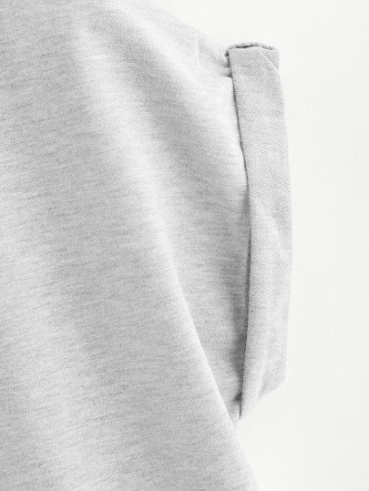 Roll Up Sleeve Hoodie And Contrast Trim Shorts