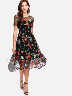 Botanical Embroidery Mesh Overlay Ruffle Hem Dress