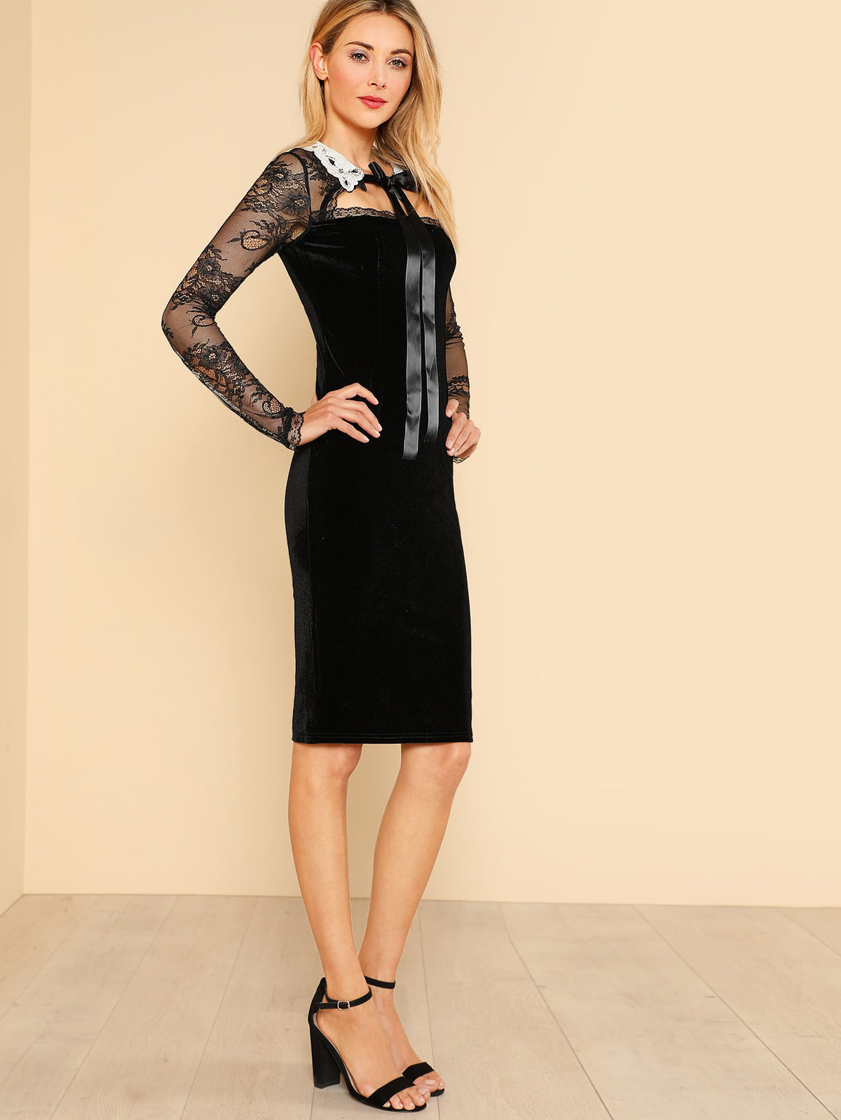 Contrast Collar Lace Shoulder Velvet Dress