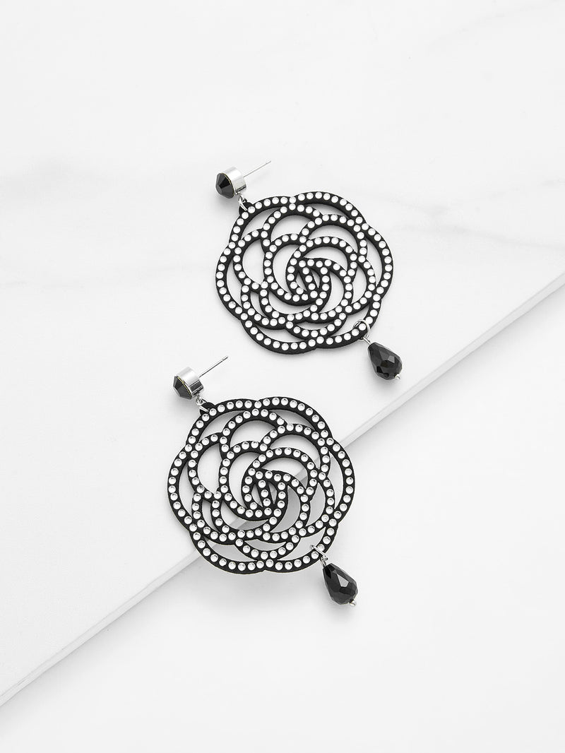 Hollow Rose Design Drop Earrings