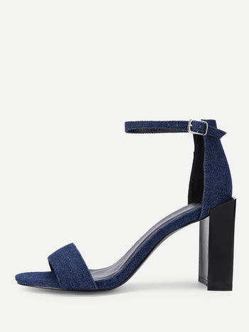 Block Heeled Ankle Strap Denim Pumps