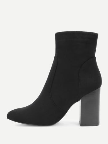 Block Heeled Side Zipper Ankle Boots
