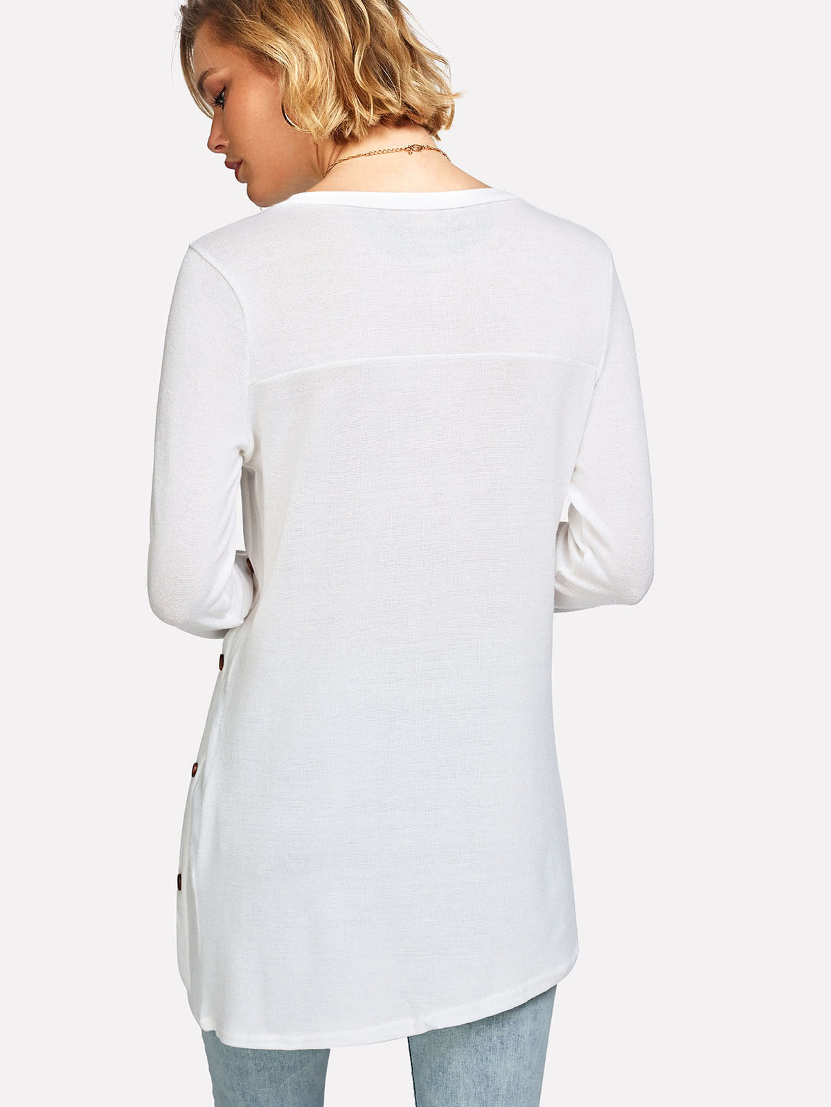 Button Side Asymmetric Hem Tshirt