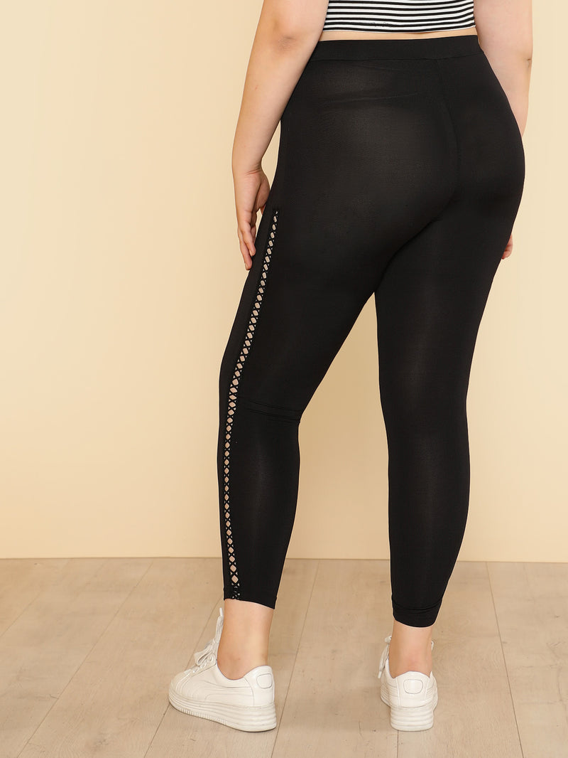 Eyelet Lace Insert Leggings