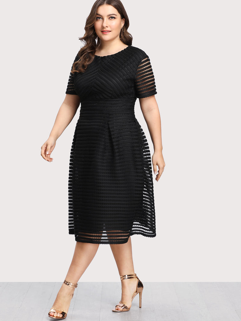 Box Pleated Striped Mesh Dress
