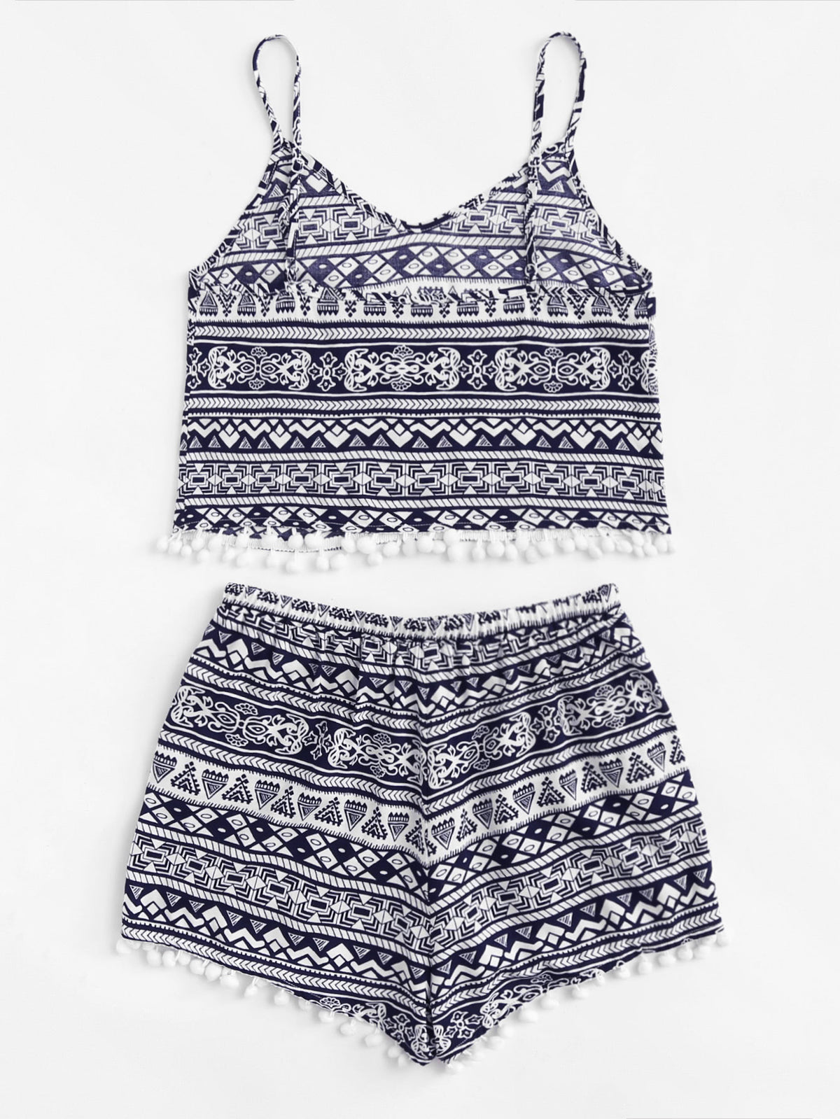 Geometric Print Pompom Trim Cami Top & Shorts Set