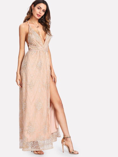 Crisscross Back High Slit Sparkle Mesh Dress