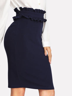 Ruffle Waist Slit Back Pencil Skirt