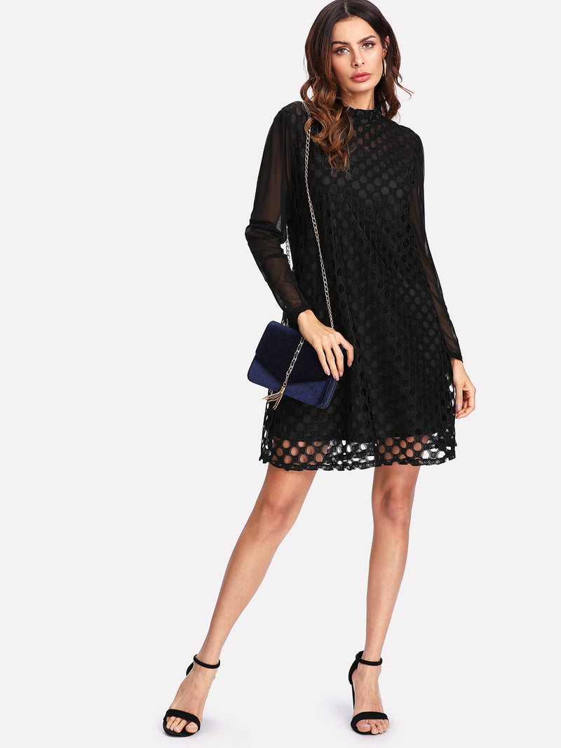 Contrast Mesh Cut Out Dress