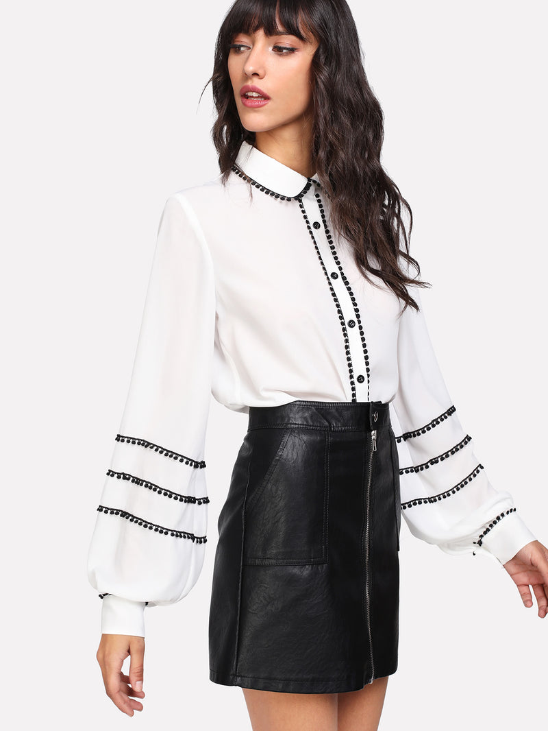 Contrast Dot Lace Trim Bishop Sleeve Blouse