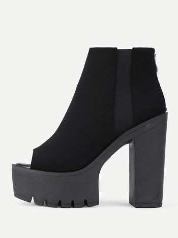 Peep Toe Back Zipper Ankle Boots