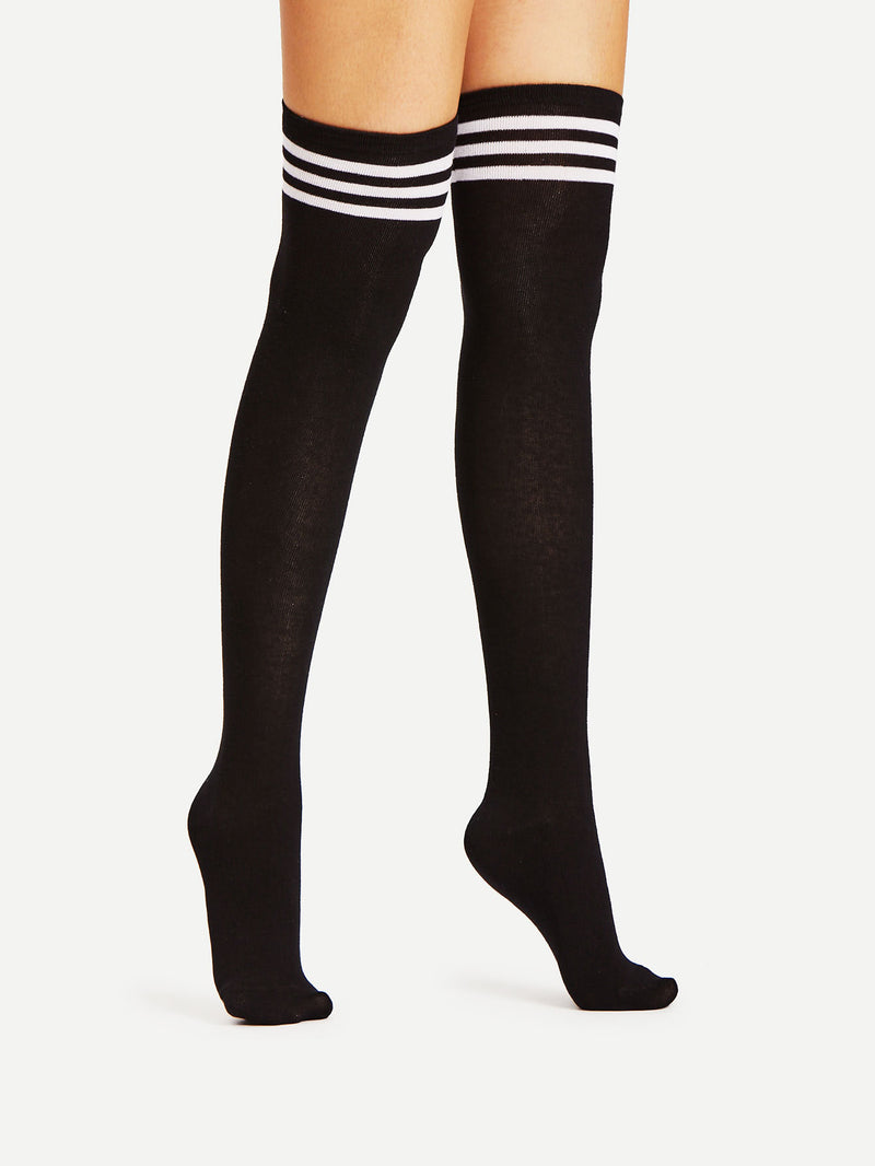 Black Varsity Stripe Over The Knee Socks