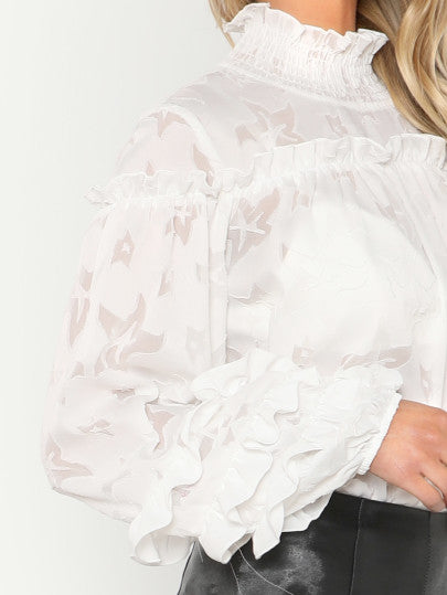 Smocked Neck Layered Frill Sleeve Textured Top