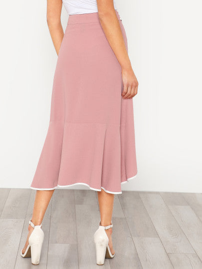 Contrast Binding Self Tie Asymmetric Ruffle Skirt