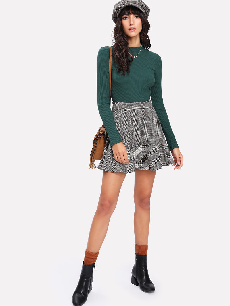 Pearl Beading Plaid Flared Skirt