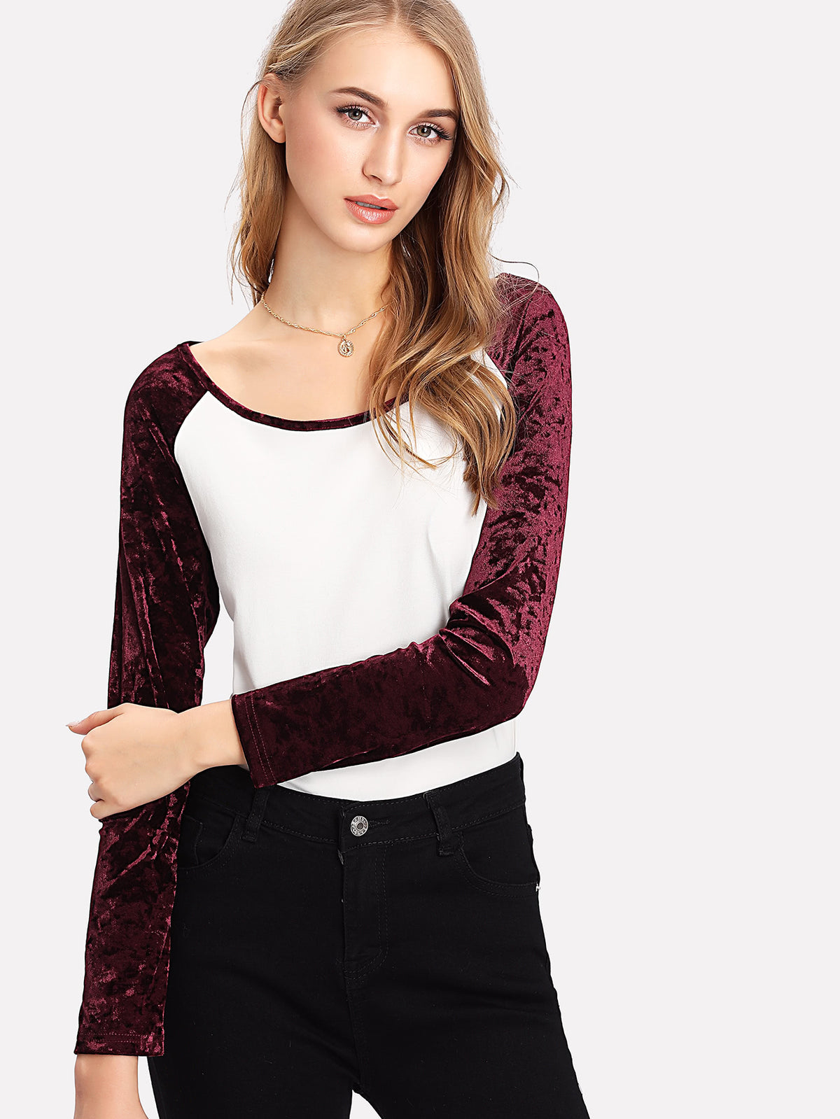 Crushed Velvet Raglan Sleeve T-shirt