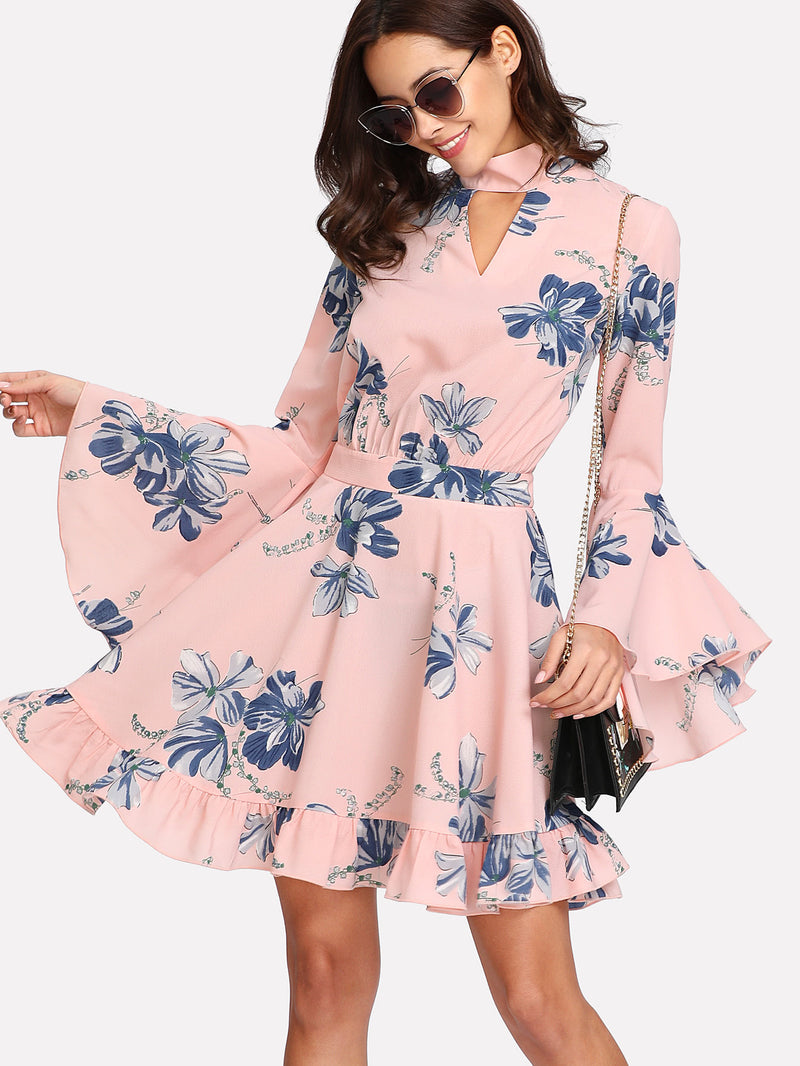 Choker Collar Flounce Sleeve Dress