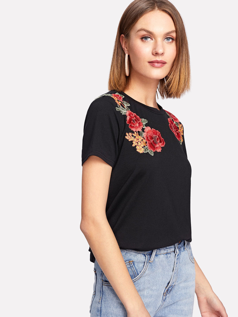 Floral Applique Shoulder Tee